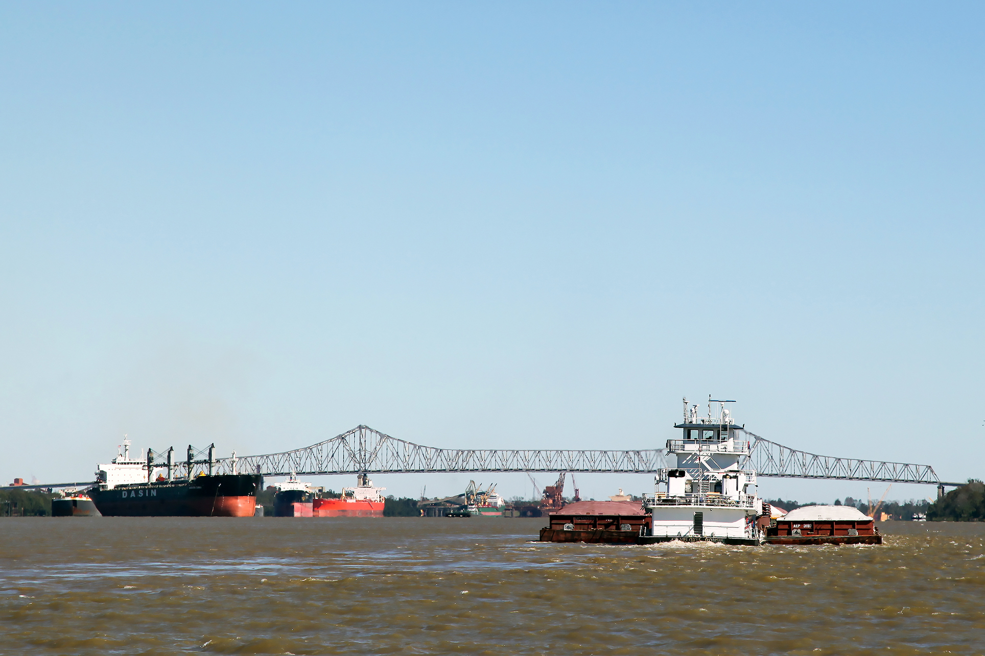 RIPPLE EFFECT: Barges, rail and trucking all stand to see their share of the increased cargo being distributed northward from Louisiana ports. (Photo courtesy Port of South Louisiana)