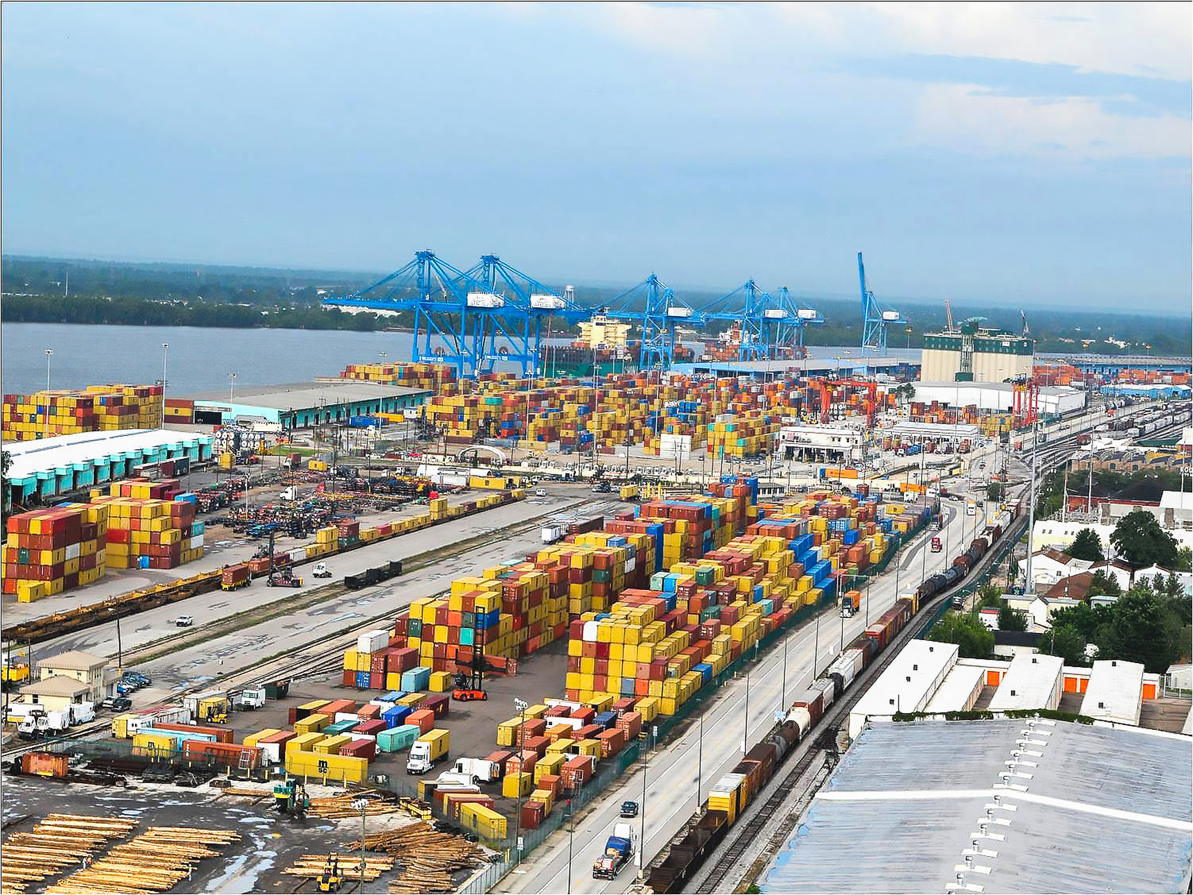 CONTAINERS, CONTAINERS EVERYWHERE: The Port of New Orleans is expanding port capacity from 800,000 TEUs per year to 1.5 million TEUs annually. (Photo courtesy Port of New Orleans)