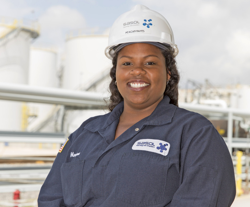 PROCESS TECH: Single mother Meagan Hayes is part of a 200-person team writing operating procedures in preparation for startup at the new Sasol operation in Westlake. (Photo by Lee Celano)