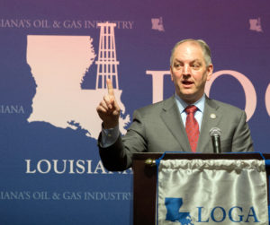 Louisiana State Governor, John Bel Edwards, speaks to attendees of 2016 Louisiana Oil and Gas Association Annual meeting at the Golden Nugget Casino Hotel in Lake Charles, La., Thursday, Jan. 28, 2016. (Rick Hickman/American Press via AP)